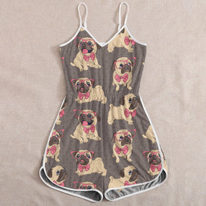 Plus Size Cute Pug Dog Puppy Lovers Rompers for Women Girls