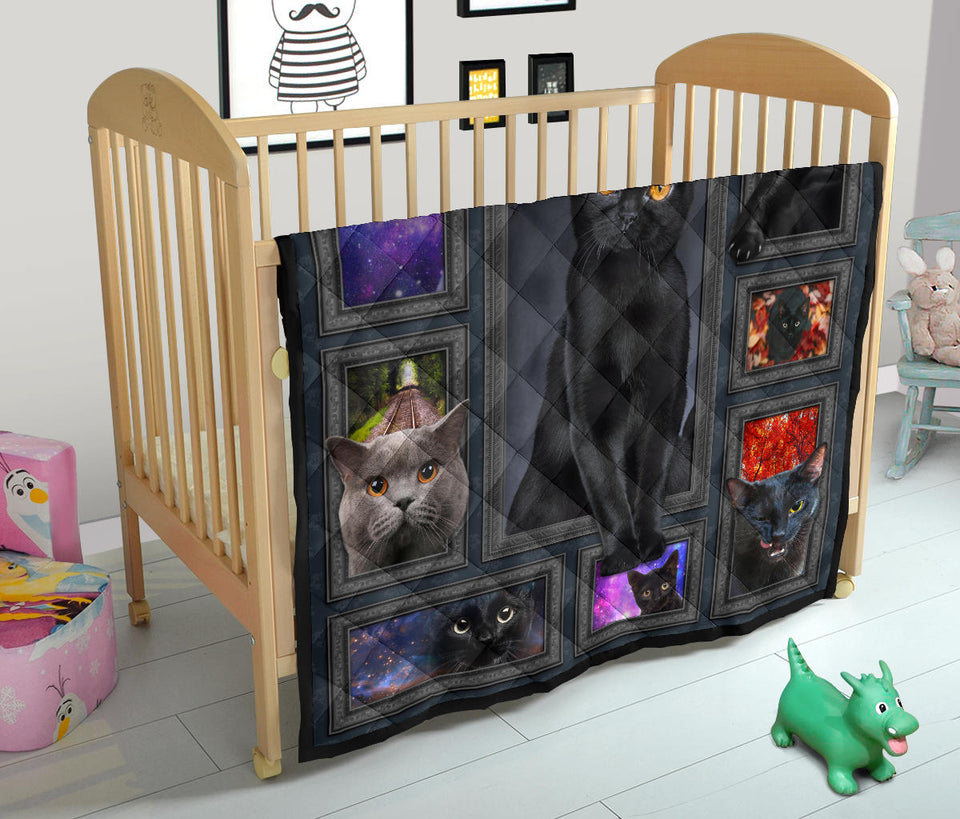 Amazing Dark Black Cat Quilt For Bedding