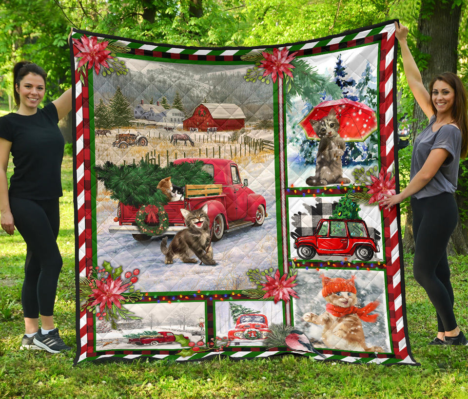 Merry Christmas Snow Cat Quilt