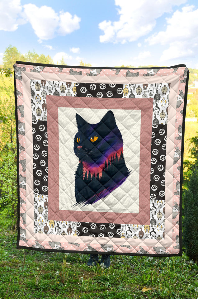 Cat Pattern Cat Artwork Premium Quilt