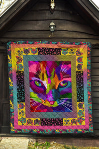 Colorful CatArtwork Premium Quilt