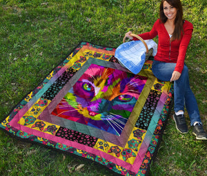 Colorful CatArtwork Premium Quilt - Wonder Cute Official