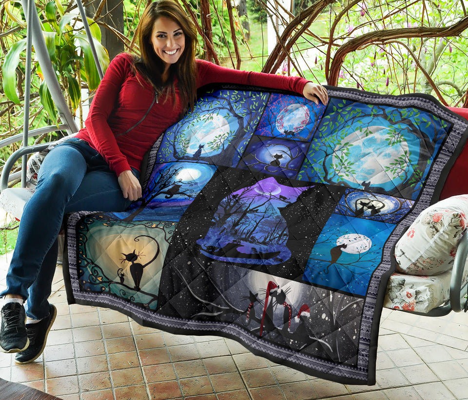 Awesome Dark Artwork Cat Quilt For Bedding - Wonder Cute Official