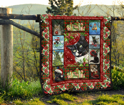 Funny Christmas Gift Cat Quilt For Bedding