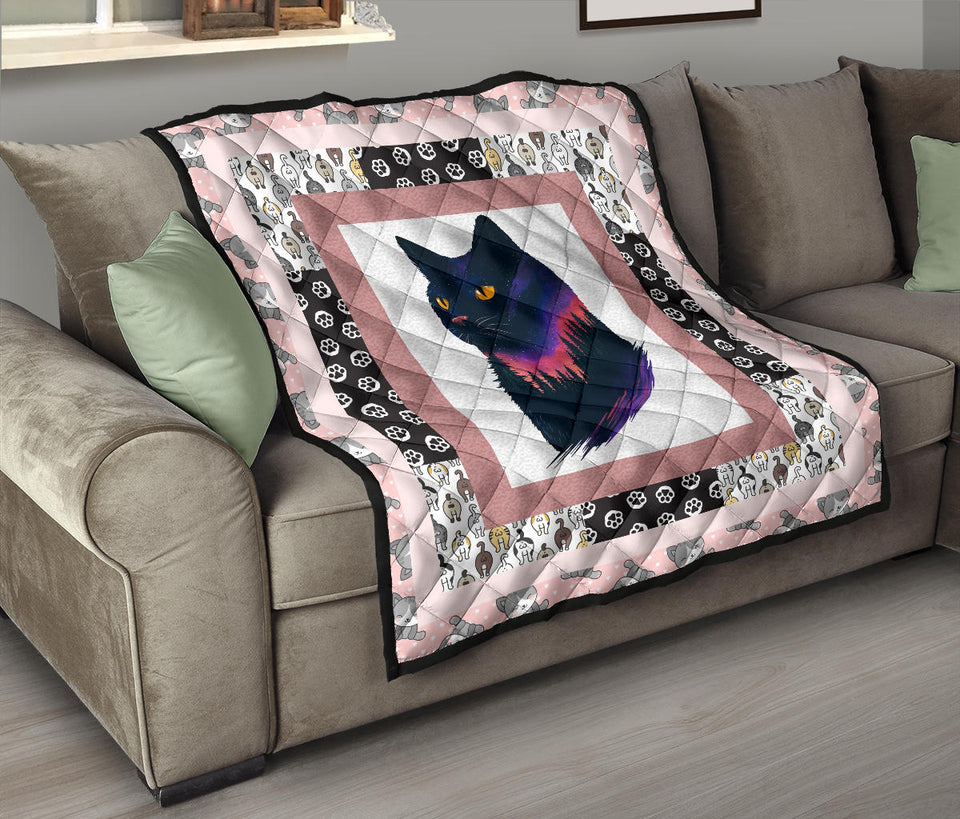 Cat Pattern Cat Artwork Premium Quilt - Wonder Cute Official