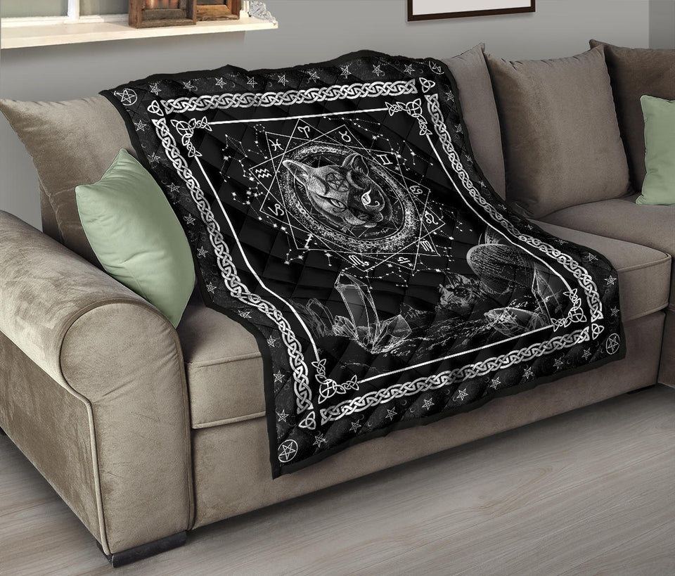 Vintage Gothic Cat Quilt For Bedding - Wonder Cute Official