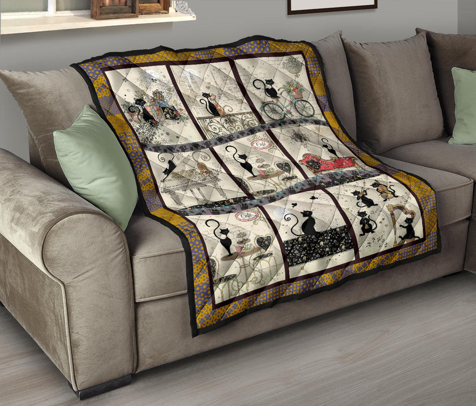 Cat And Music Instrument Quilt For Bedding - Wonder Cute Official