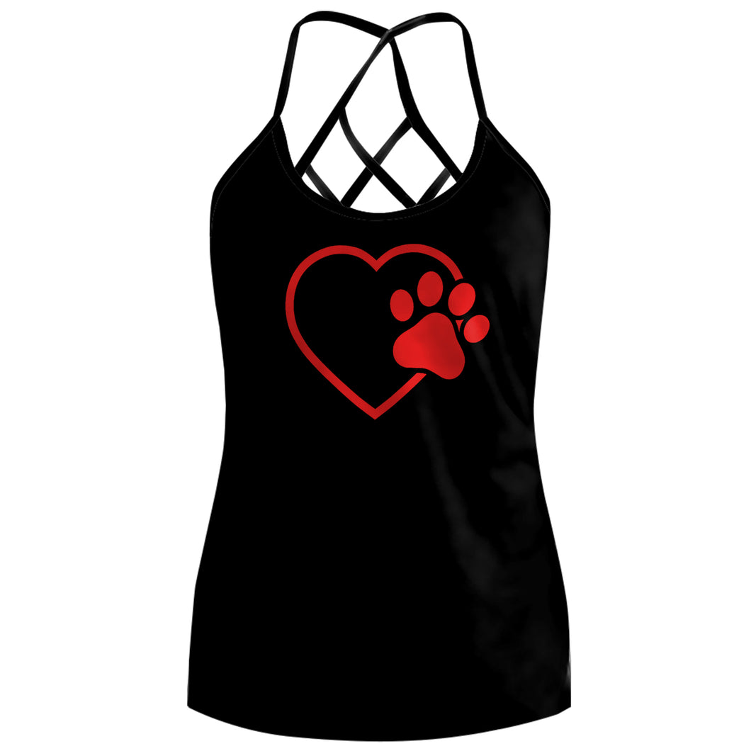 Cute Heart Dog Paws Sleeveless Sexy Backless Hollow Out Tank Top - Wonder Cute Official