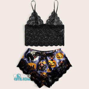 Sexy Halloween Cats Lace Combo Crop Top & Short Body Suit Sleepwear - Wonder Cute Official