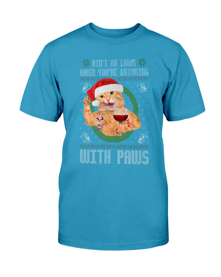 Funny Ugly Christmas cat wine tshirt - Wonder Cute Official