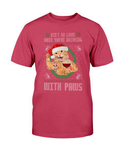 Funny Ugly Christmas cat wine tshirt