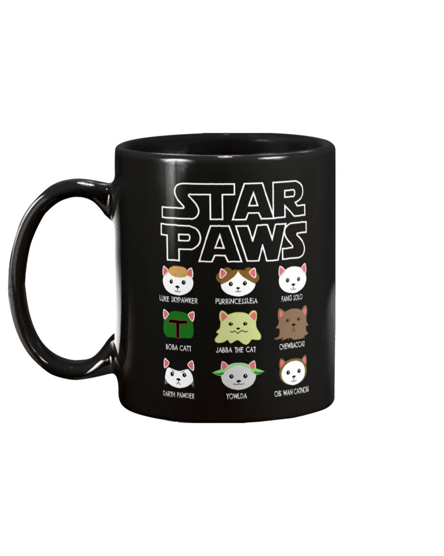 Star Paws Black Ceramic Mug Cup