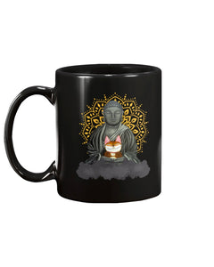 Zen Cat Black Ceramic Mug Cup