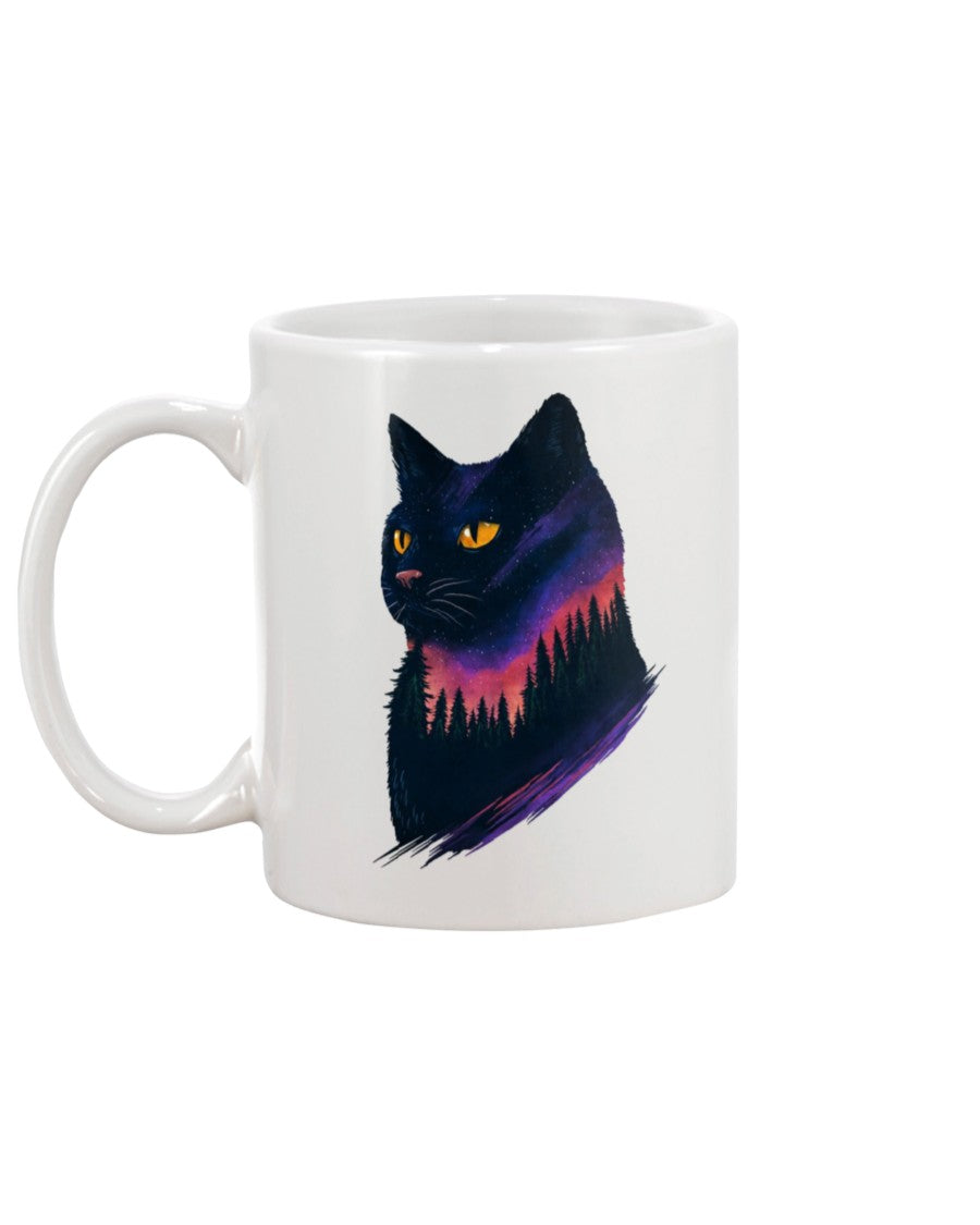 Cat Artwork White Ceramic Mug Cup