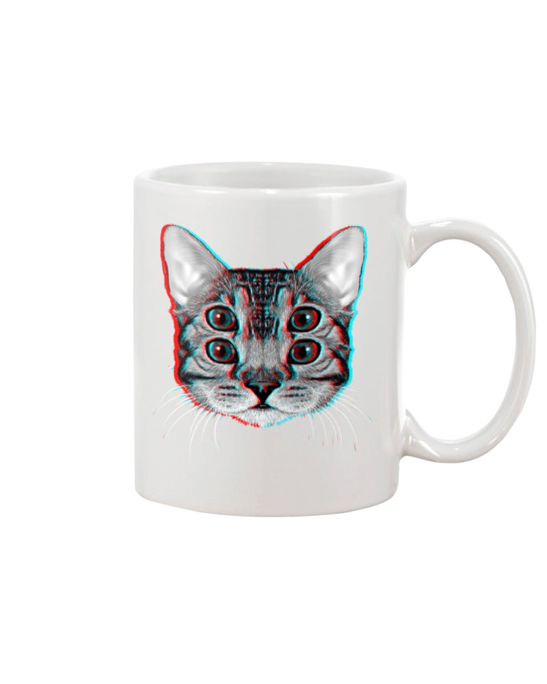 4 Eyes Cat White Ceramic Mug Cup