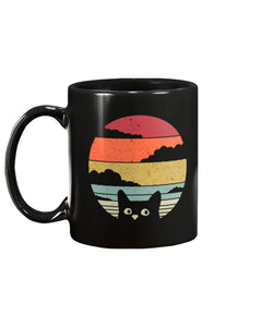Cute Cat VIntage Design Black Ceramic Mug Cup