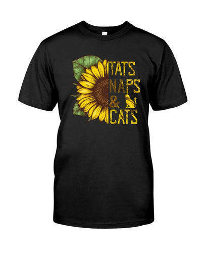 Tats Naps & Cats Sunflower Funny Cute Cat T-shirt - Wonder Cute Official