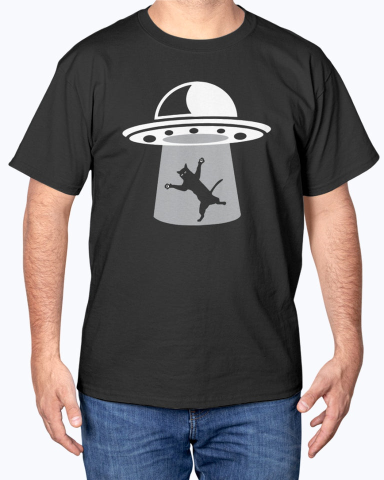 Funny Alien Catch Cat UFO t-shirt