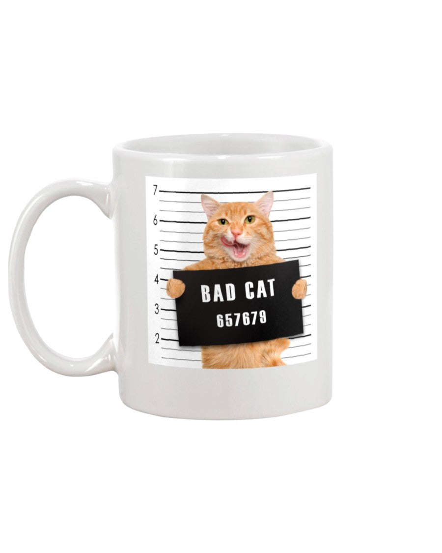 Bad Cat Funny  White Ceramic Mug Cup