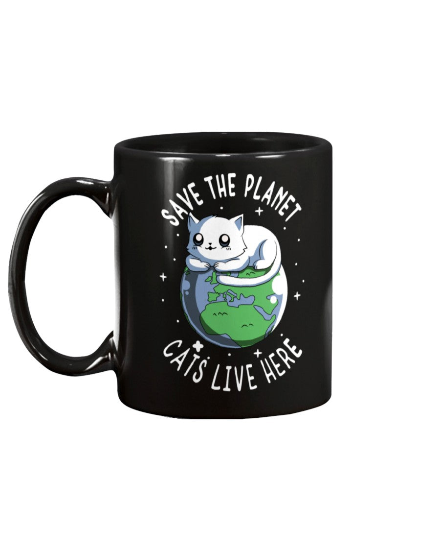Save The Planet Cats Live Here Black Ceramic Mug Cup