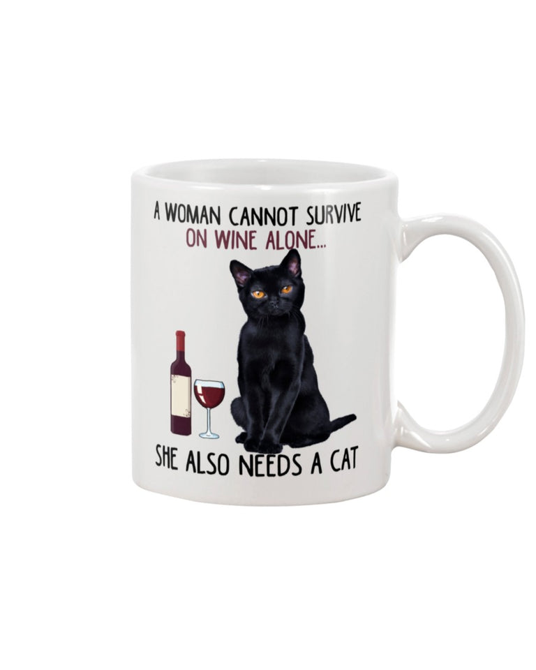 Woman Cannot Survive On Wine Alone White Ceramic Mug Cup