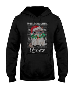 Worst Christmas ever funny cat ugly tshirt