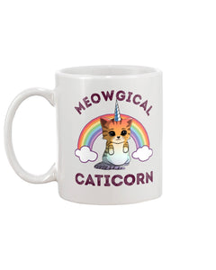 Meowgical Caticorn White Ceramic Mug Cup