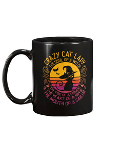 Crazy Cat Lady Black Ceramic Mug Cup