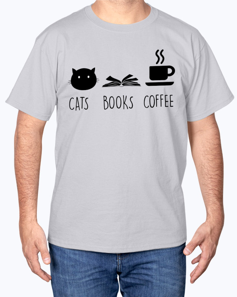 Cats Book Coffee T-shirt
