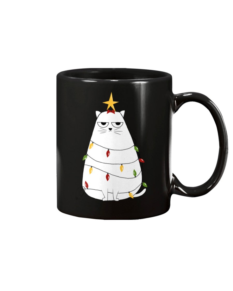 Meowy Christmas Tree Black Ceramic Mug Cup