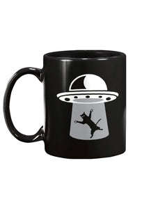 Funny Alien Catch Cat UFO Black Ceramic Mug Cup