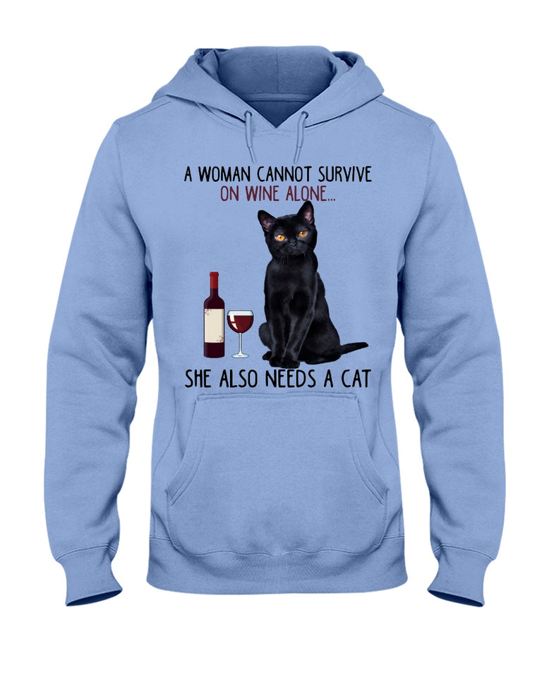 Woman can not survive on wine alone cats funny t shirt - Wonder Cute Official