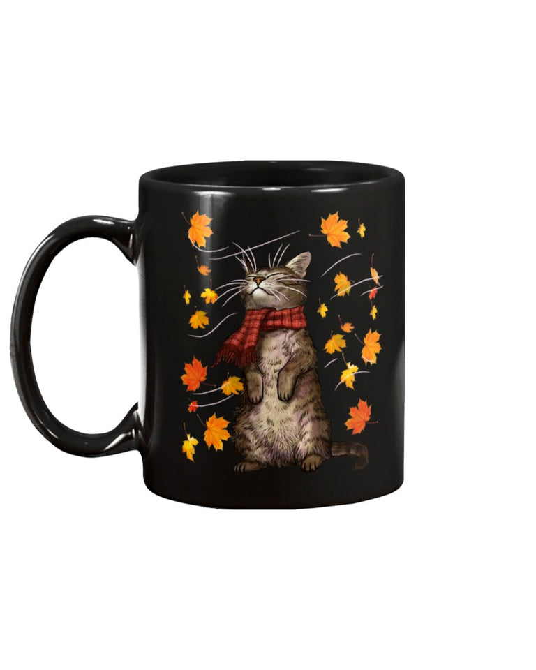 Cat autumn Black Ceramic Mug Cup