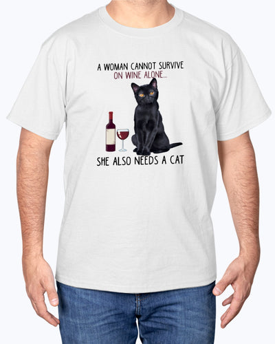 Woman Can Not Survive On Wine Alone Funny Cute Cat T-shirt