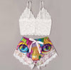 Sexy Multi Colors Cat Artwork Lace Combo Crop Top & Short Body Suit Sleepwear - Wonder Cute Official