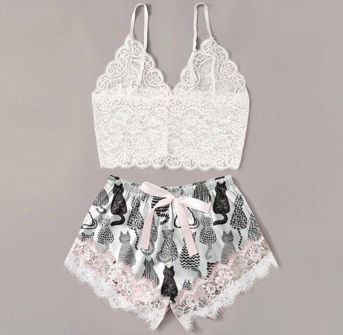 Sexy Multi Cats Artwork Lace Combo Crop Top & Short Body Suit Sleepwear - Wonder Cute Official