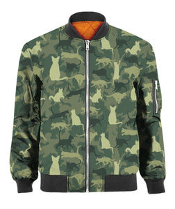 Camo Cat Pattern 3D Printed Bomber