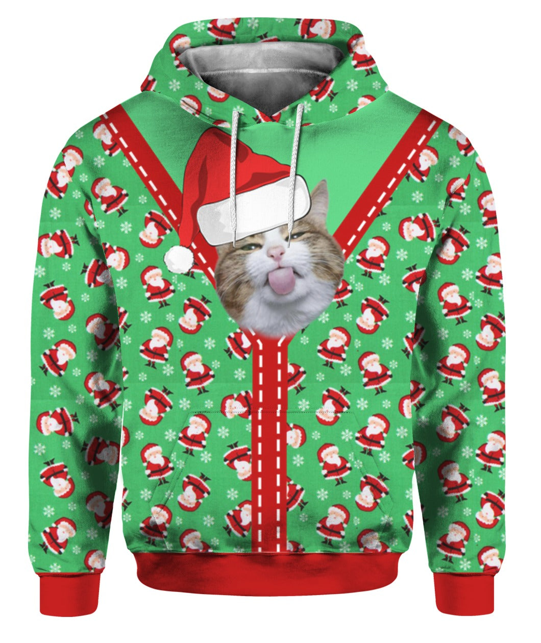 Cute Cat Christmas Santa 3D Hoodie Full Printed