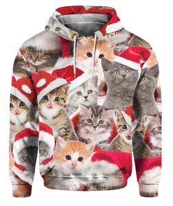 Santa Claus Cats Patterns 3D Hoodie Full Printed - Wonder Cute Official
