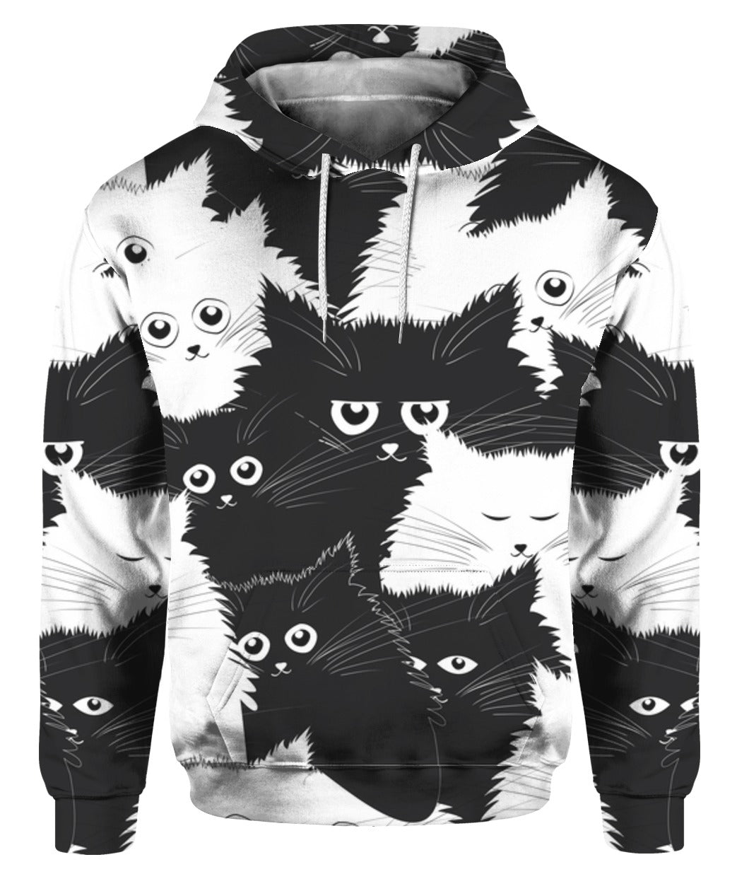 Black And White Cute Cat 3D Hoodie Full Printed