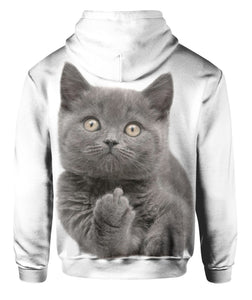 Middle F Finger Funny Cat 3D Hoodie Full Printed