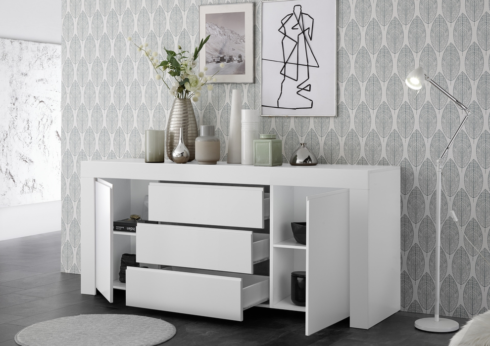 Roma Matt White 2 Door 3 Drawer Wide Sideboard - FurniComp