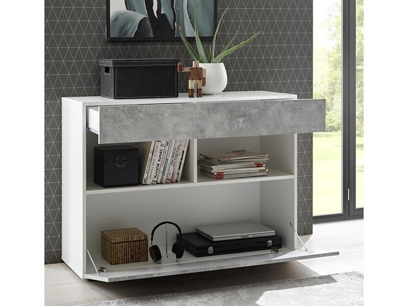 Napoli High Gloss White and Concrete Grey 1 Drawer Sideboard - FurniComp