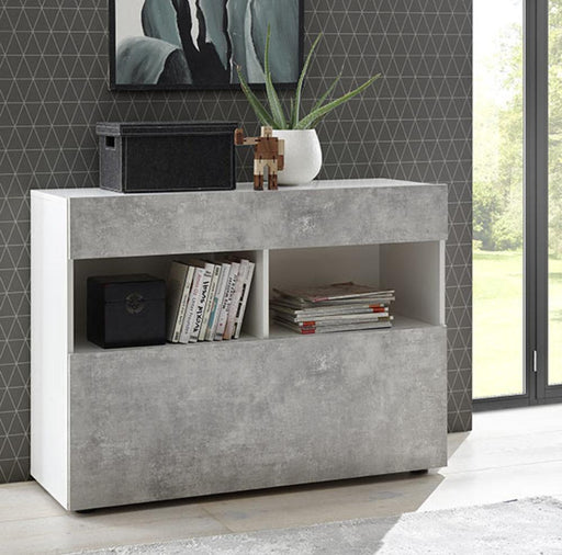 Napoli White and Concrete Grey 1 Drawer Sideboard - FurniComp