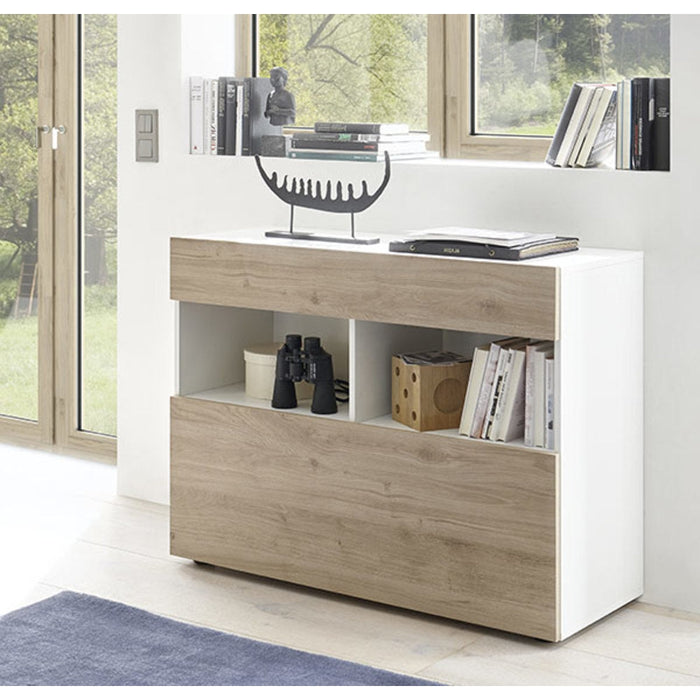 Napoli High Gloss White and Cadiz Oak 1 Drawer Sideboard - FurniComp