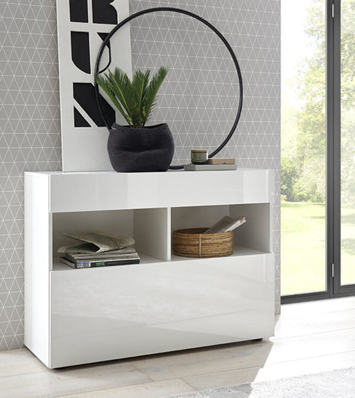 Napoli High Gloss White 1 Drawer Sideboard - FurniComp