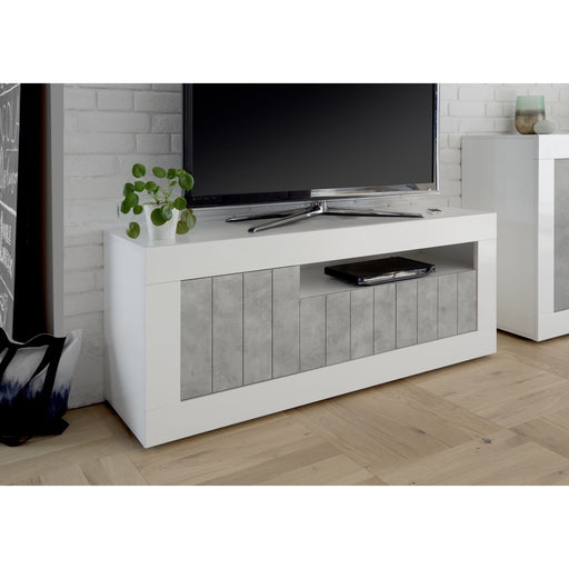 Siena 3 Door White Gloss and Grey TV Unit - FurniComp