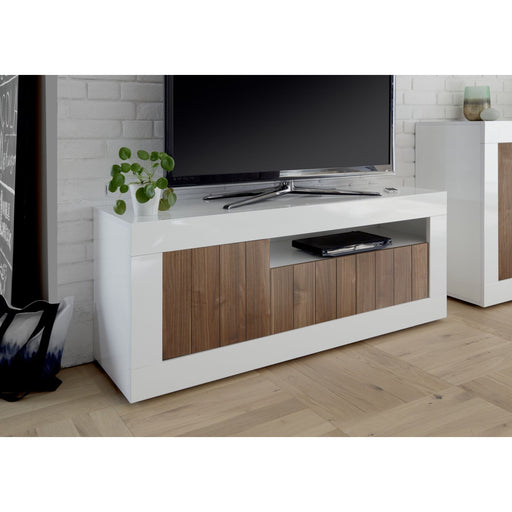 Siena 3 Door White Gloss and Walnut TV Unit - FurniComp