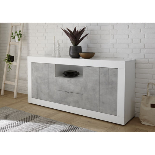 Siena 2 Door 2 Drawer White Gloss and Grey Sideboard - FurniComp