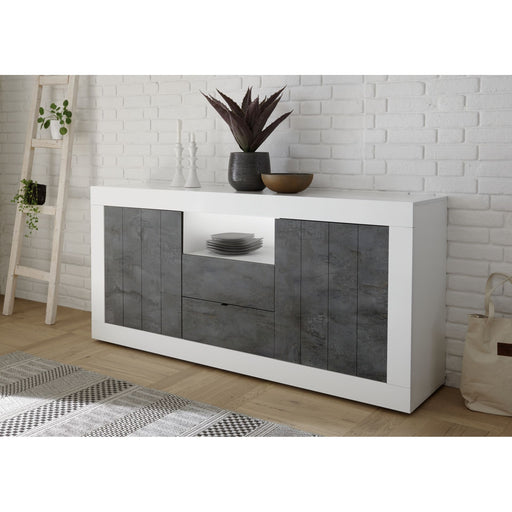 Siena 2 Door 2 Drawer White Gloss and Anthracite Sideboard - FurniComp